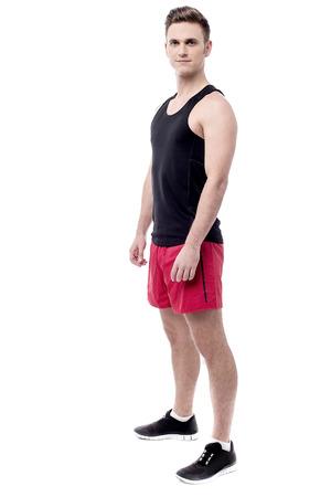ropa deportiva: Longitud total del hombre de la aptitud en ropa de deportes Foto de archivo