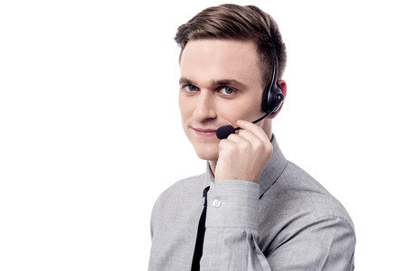 head support: Customer support executive with head phones