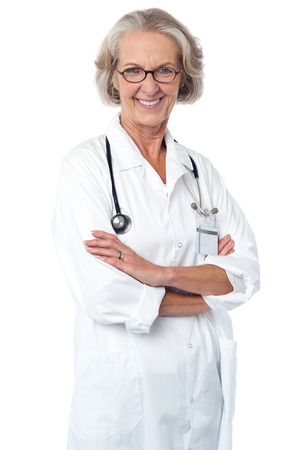 folded arms: Confident female doctor with folded arms