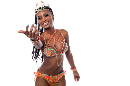 carnival costume: Beautiful african woman in a carnival costume