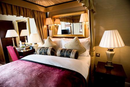 bedroom suite: Luxury bedroom with beautiful decoration Stock Photo