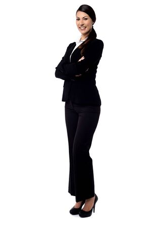 full length: Full length of confident young business woman
