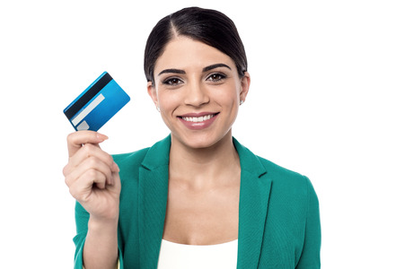 Female executive showing her new credit card.