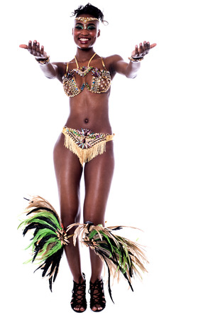 carnival costume: Young african woman in a carnival costume