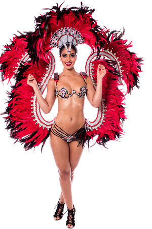 carnival costume: Sexy woman in a colorful carnival costume