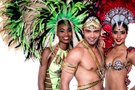 feather: Beautiful carnival dancers with amazing costume Stock Photo