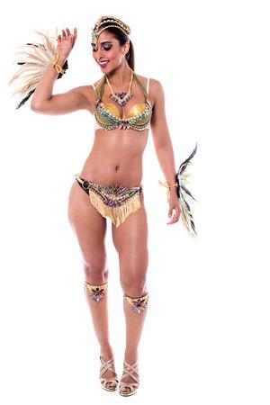 feather: Full length of woman wearing a samba costume