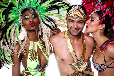 Samba dancers with colorful costume over white Stock Photo
