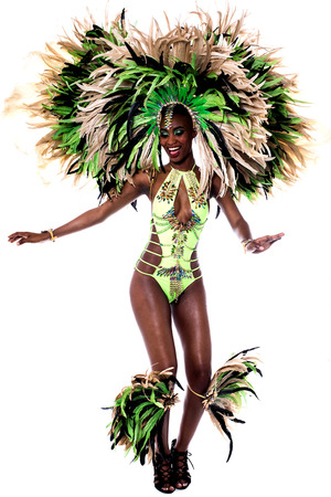 Image of a samba woman dancing isolated over white