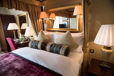 bedroom suite: Interior of a classic style bedroom in hotel