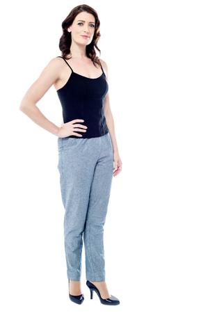 facing to camera: Full length image of young woman facing camera Stock Photo