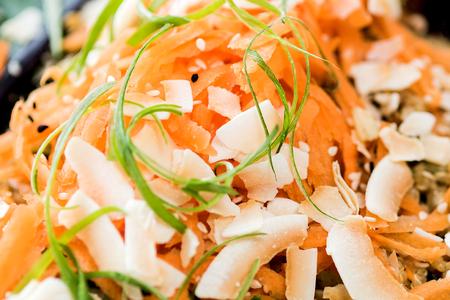 close shot: Close up shot of vegan carrot salad Stock Photo