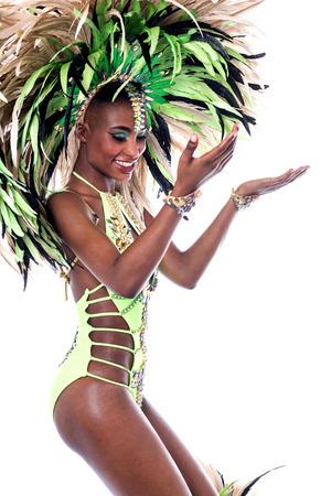 dance steps: Samba dancer practicing dance steps over white