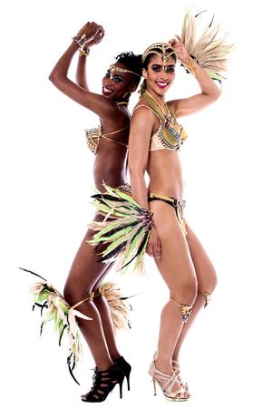 carnival costume: Female samba dancers dancing in carnival costume
