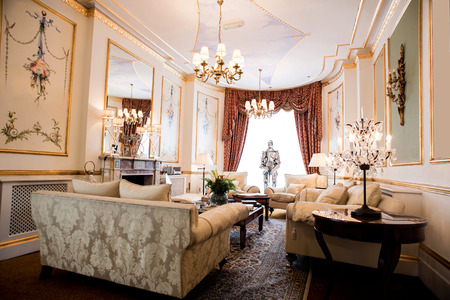 luxury living room: Elite living room with sofa in luxury mansion