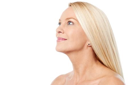aged: Beautiful caucasian woman on white background