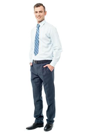 full length: Young executive posing, full length shot.