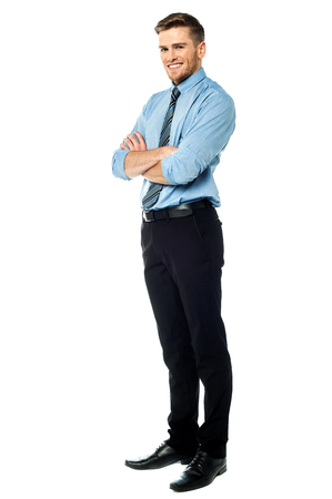side pose: Ambitious entrepreneur, full length shot. Stock Photo