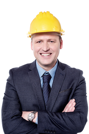 folded arms: Picture of a male engineer with folded arms Stock Photo