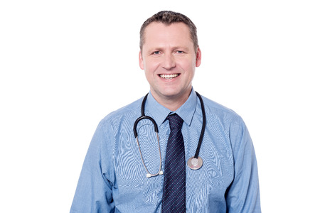 smiling doctor: Smiling male doctor isolated over white background