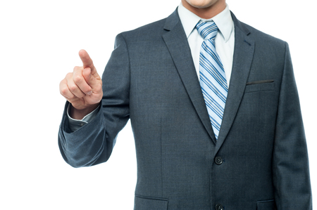 cropped: Cropped image of a business person touching virtual screen