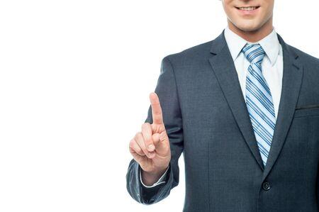 Geerntetes Bild der Geschäftsmann mit dem Zeigefinger Standard-Bild