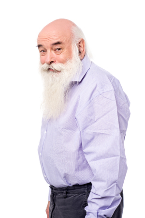 side pose: Side pose of a senior man over white