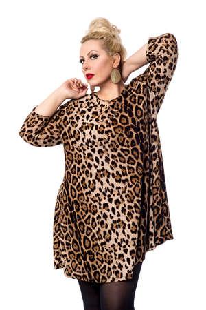 ravishing: Trendy woman giving a ravishing look over white Stock Photo