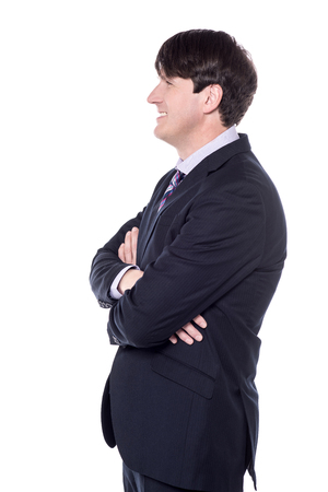 side shot: Side shot of a businessman with folded arms