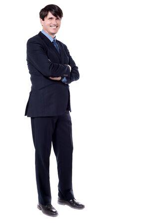 side shot: Side shot of a confident businessman over white