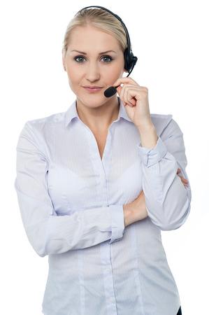 Young pretty female call centre executive