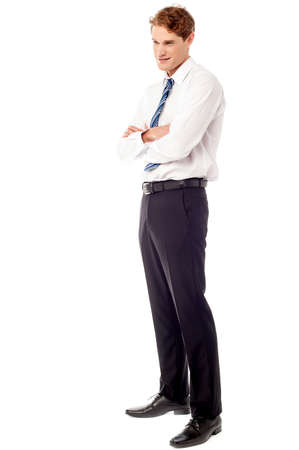 full length: Smiling young executive, full length pose Stock Photo