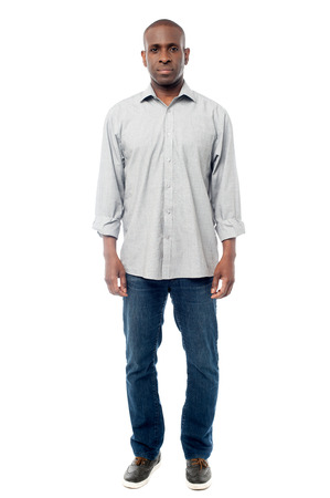 expressionless: Full length portrait of african american male Stock Photo