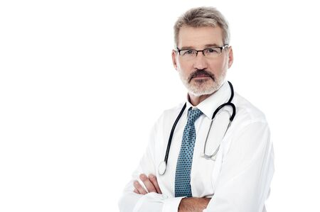 physician: Image of a mature male physician with stethoscope