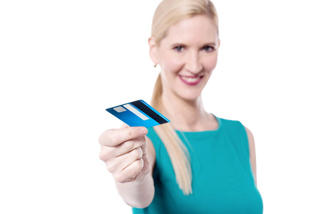 lending: Pretty woman lending her credit card to you