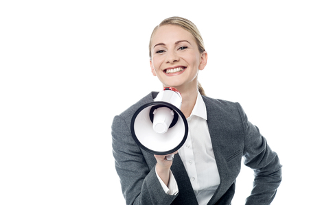 Business woman with mega phone announcing offers to all