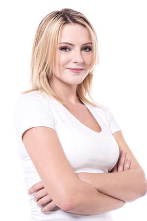 folded arms: Pretty lady posing to camera with folded arms Stock Photo