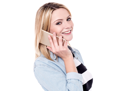 lady on phone: Pretty lady talking using her cell phone