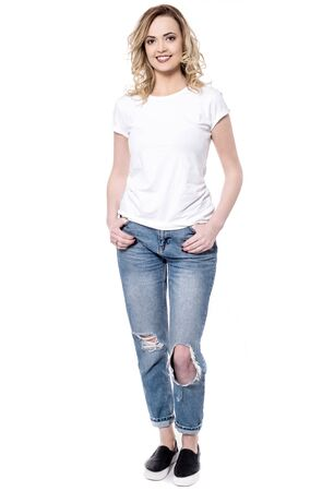 casuals: Urban white woman in casuals over white Stock Photo