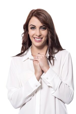 clasped hands: Smiling lady with clasped hands