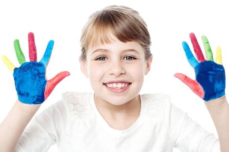 kids painted hands: Different colors on kids palm