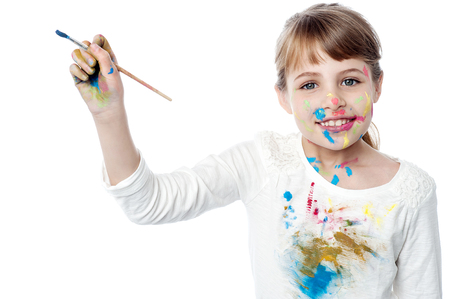 creatively: Sweet girl painting creatively Stock Photo