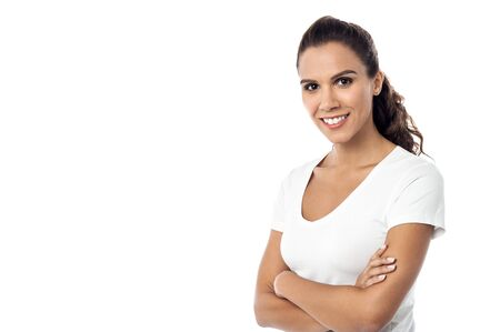 folded arms: Smiling pretty lady with folded arms