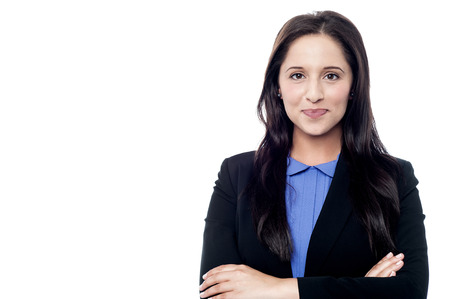 Confident smiling female employee