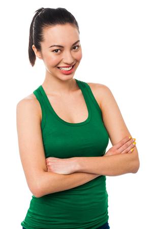 half length: Smiling pretty woman , half length portrait. Stock Photo