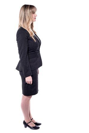 full length: Full length of beautiful stylish businesswoman isolated