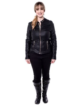 full length: Woman in trendy wear, full length portrait. Stock Photo