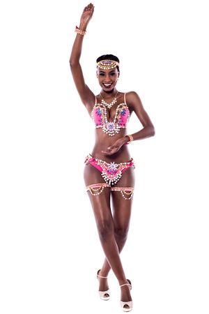 dance steps: Female african samba dancer practicing dance steps