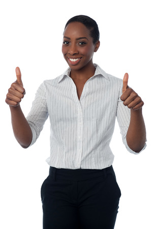 yup: Businesswoman showing double thumbs up