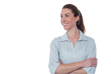 Confident smiling business lady looking away photo
